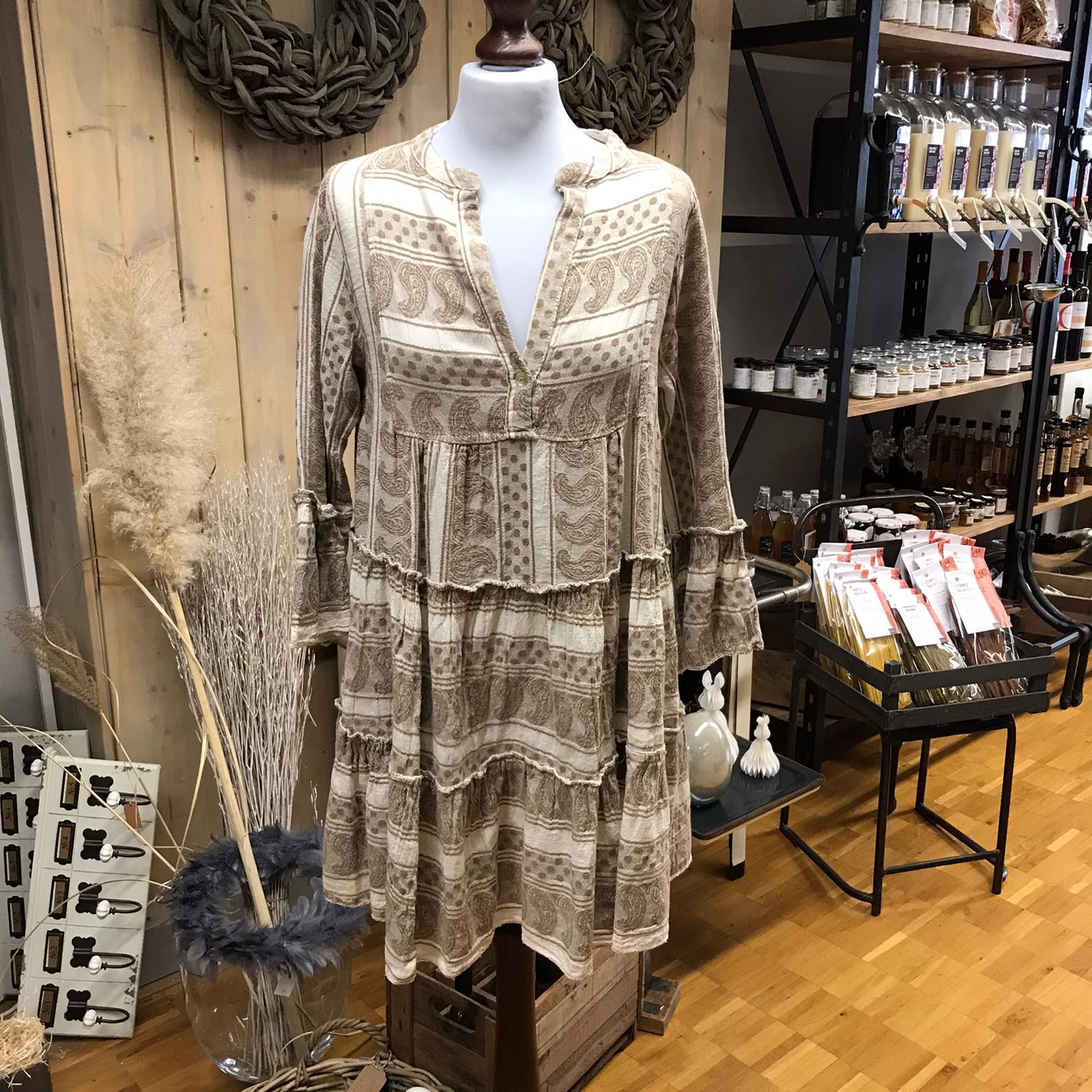 Kleid Baumwolle weiß/cremé Aztekenmuster