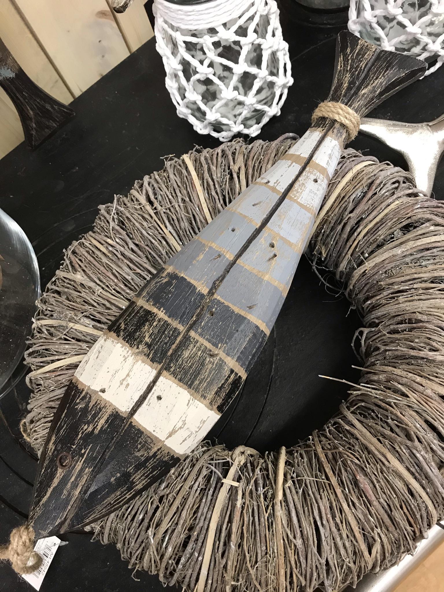 Holzfisch maritim grau/weiß