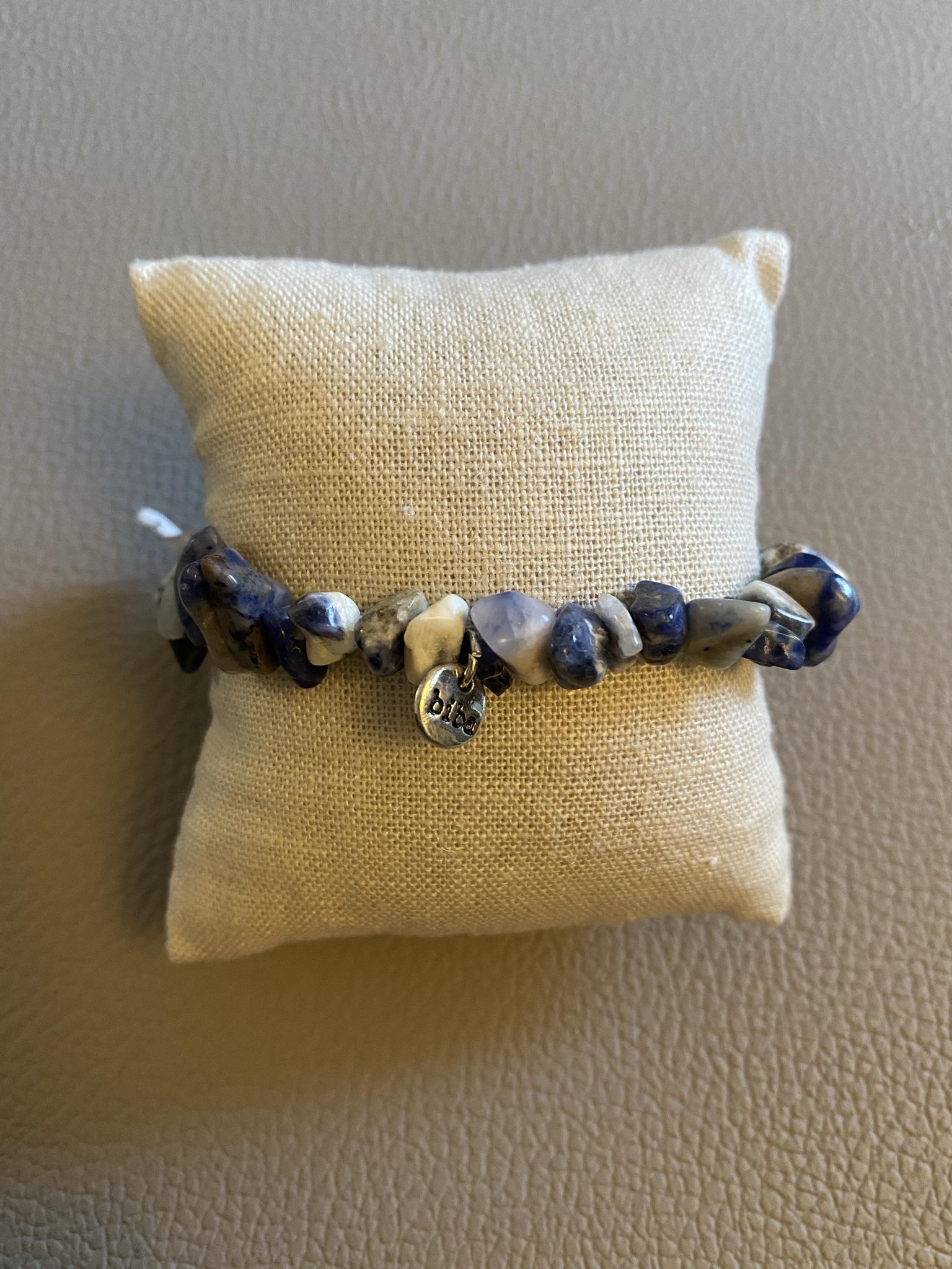 Biba Armband blau weiß grau Halbedelstein