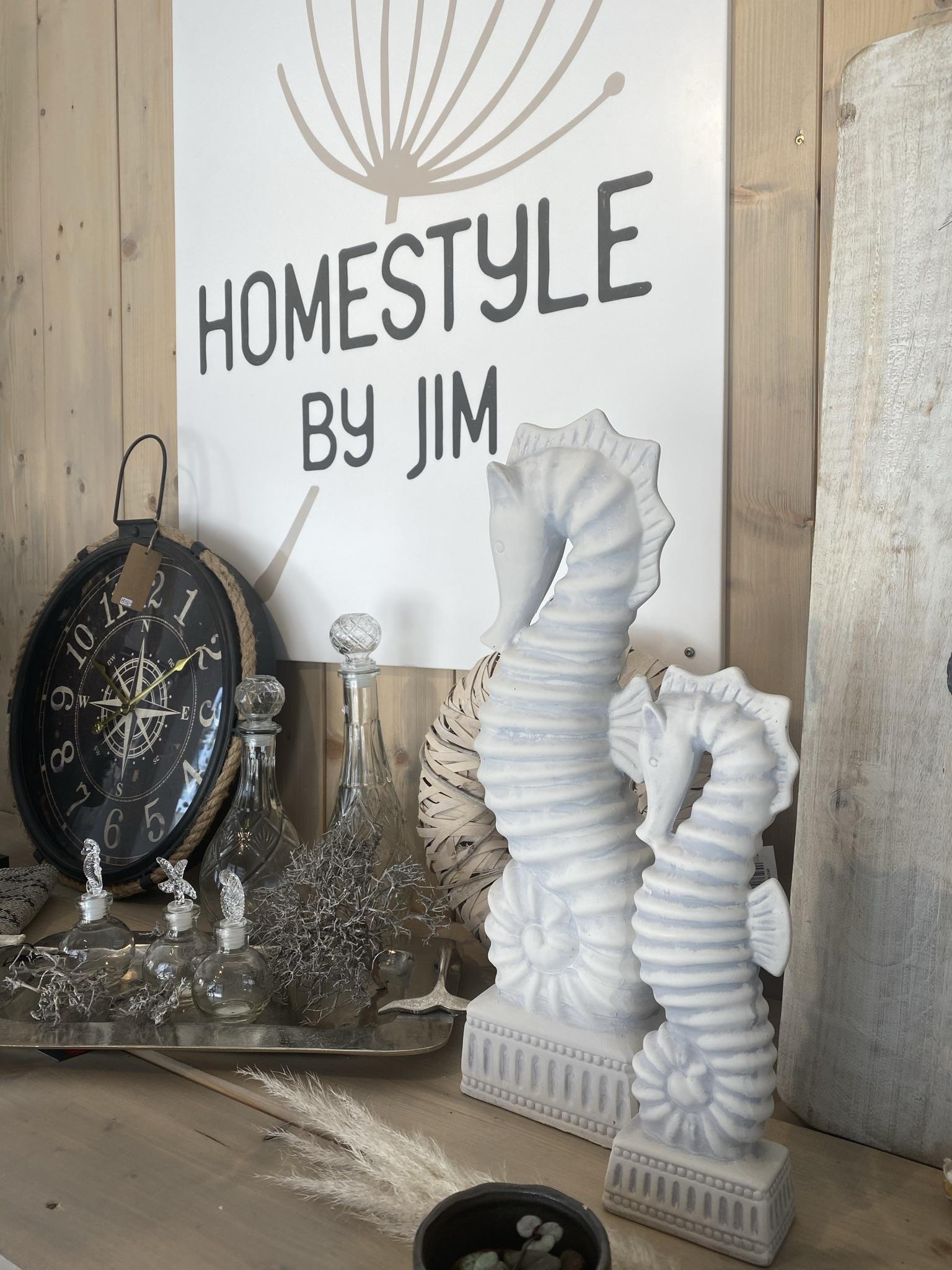 Seepferdchen weiß gewischt aus Keramik, 32cm