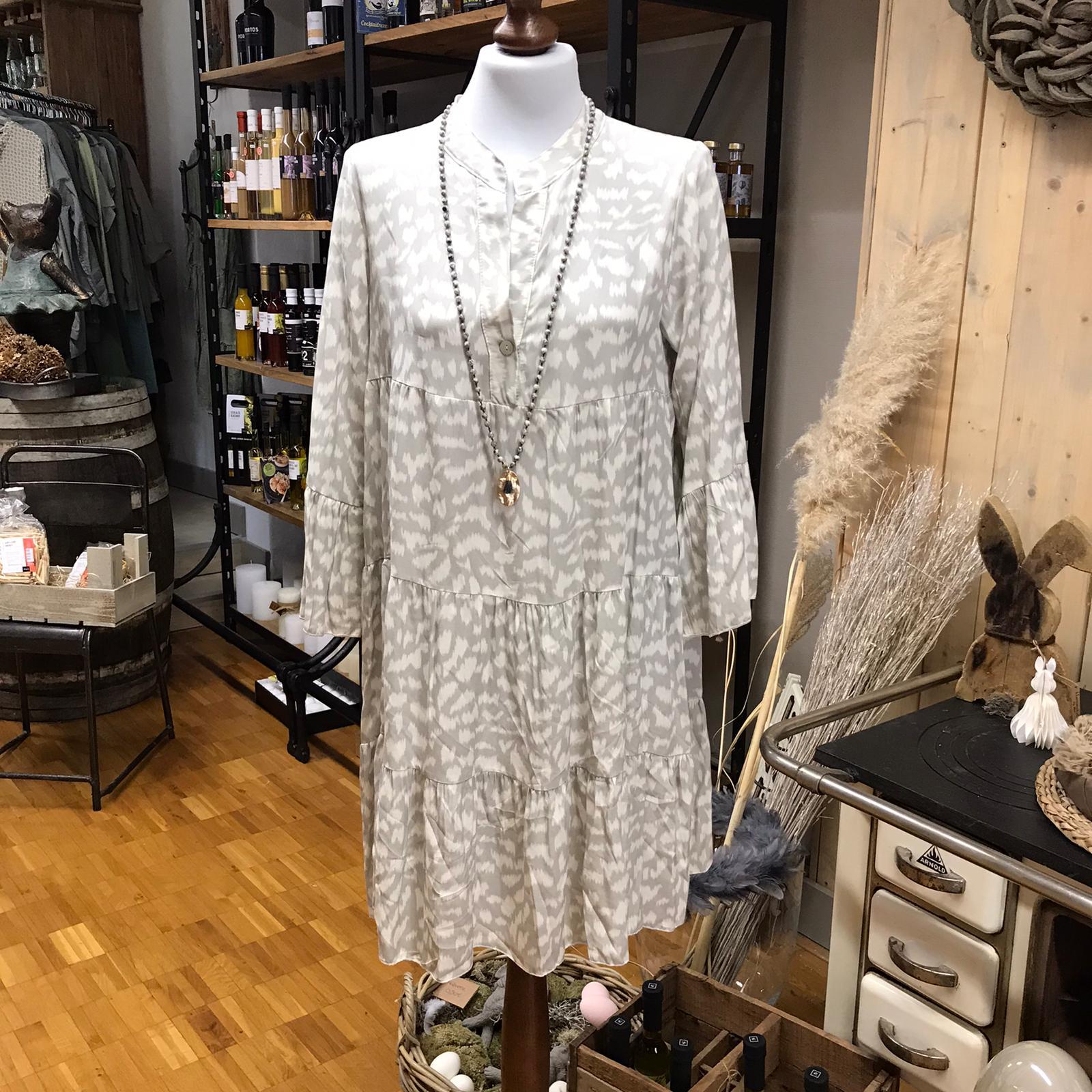 Kleid Viskose hellgrau/weiß
