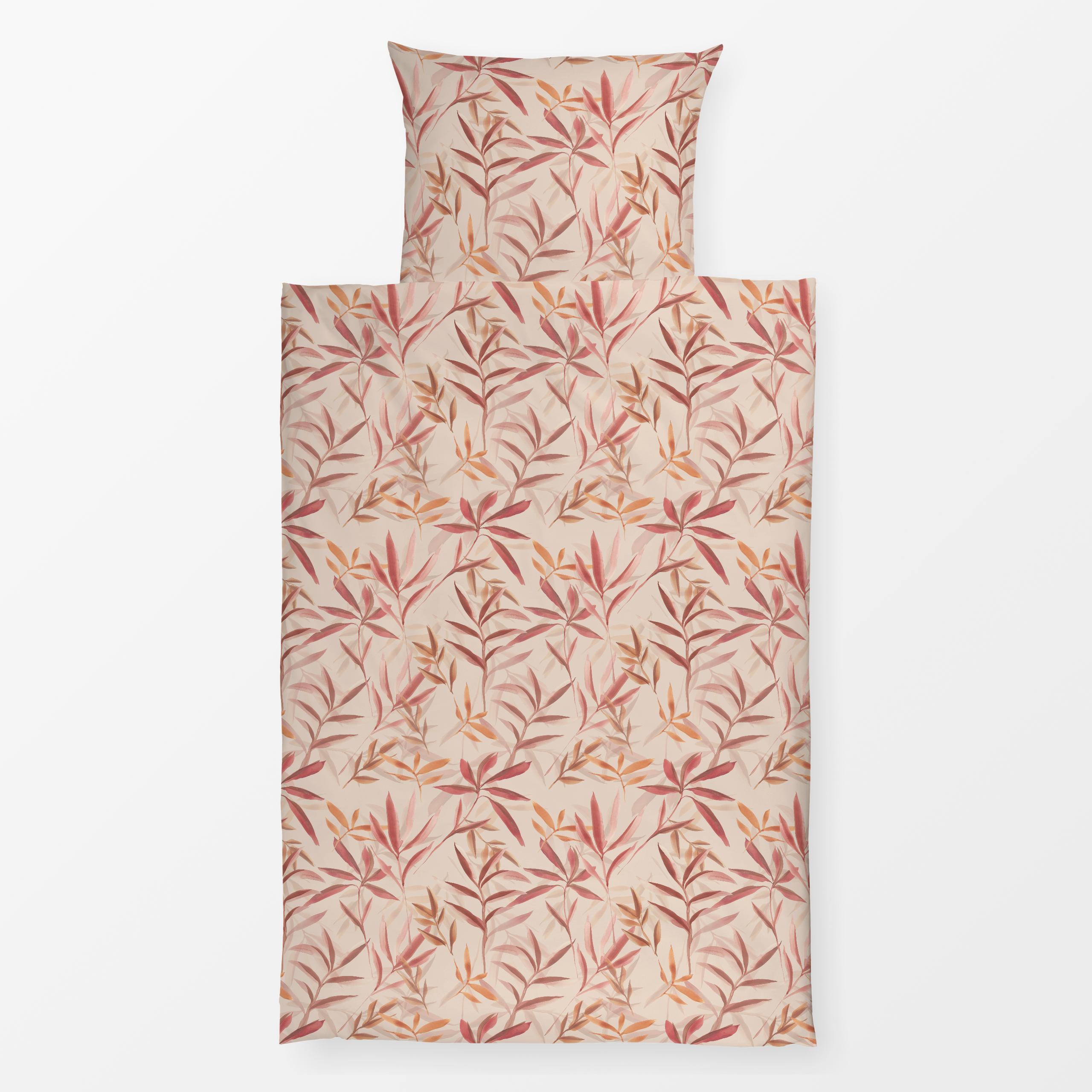 Bettwäsche Blush Pink Tropical leaves 100% Leinen