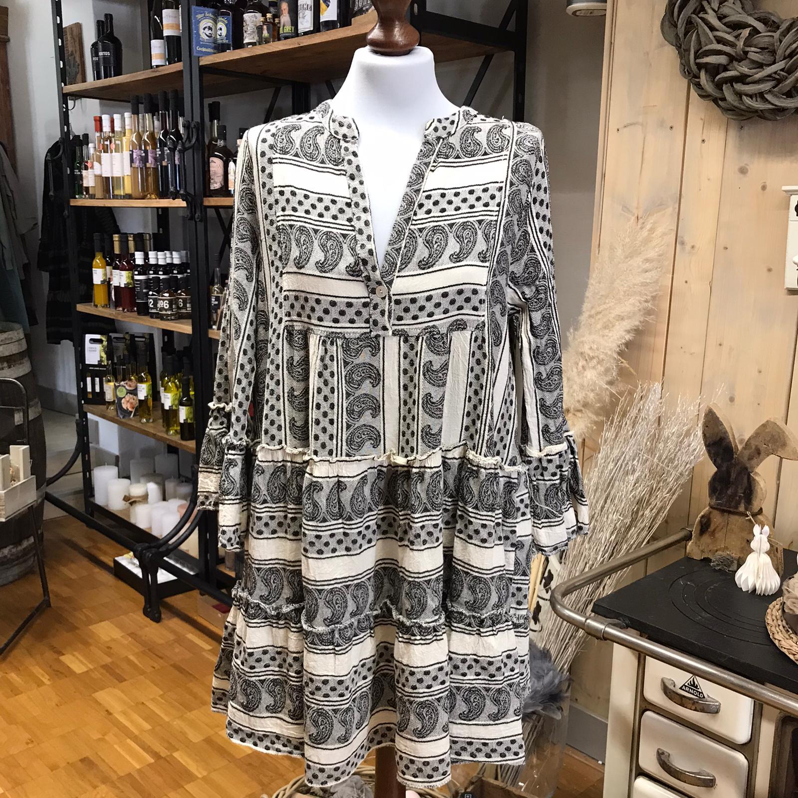Kleid Baumwolle weiß/schwarz Aztekenmuster
