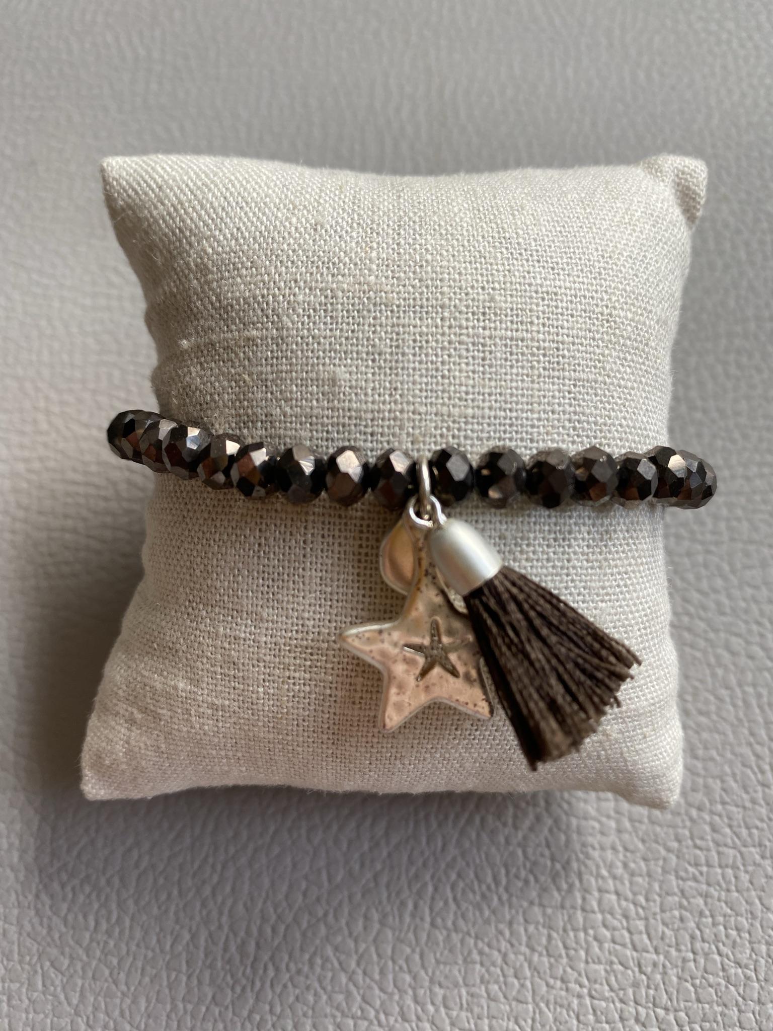 Biba Armband dunkelbraun silber mit Sternenanhänger