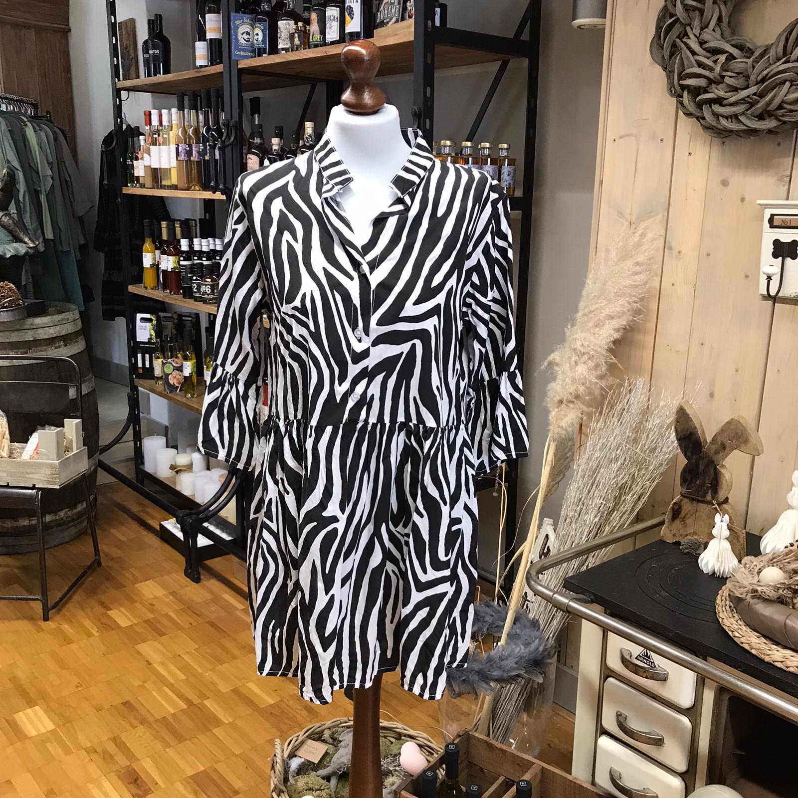 Kleid schwarz/weiß gemustert Zebra Viskose