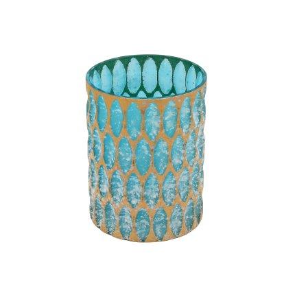 Windlicht Crystal, blau/gold, groß