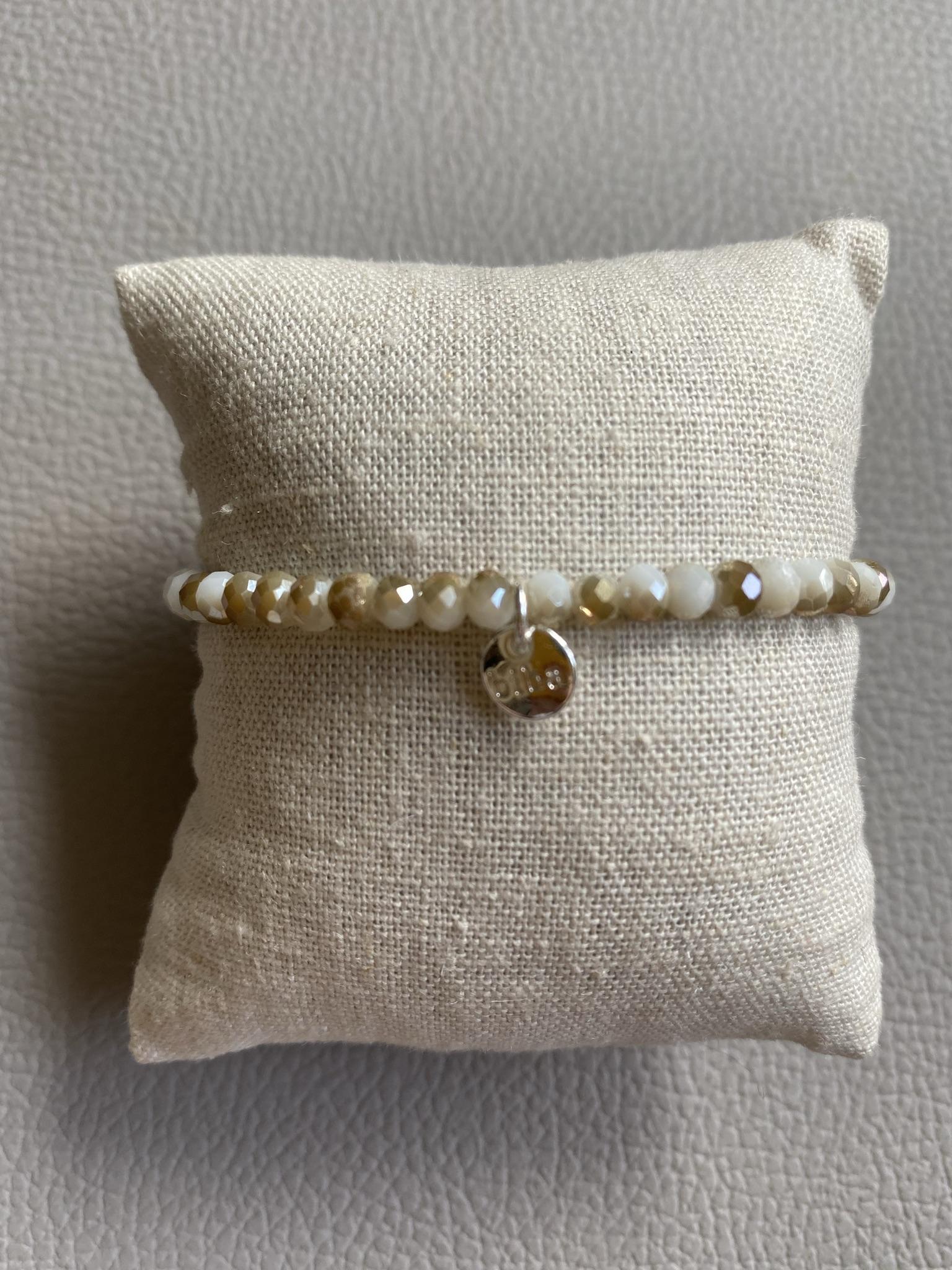 Biba Armband altweiß, grün, beige, silber
