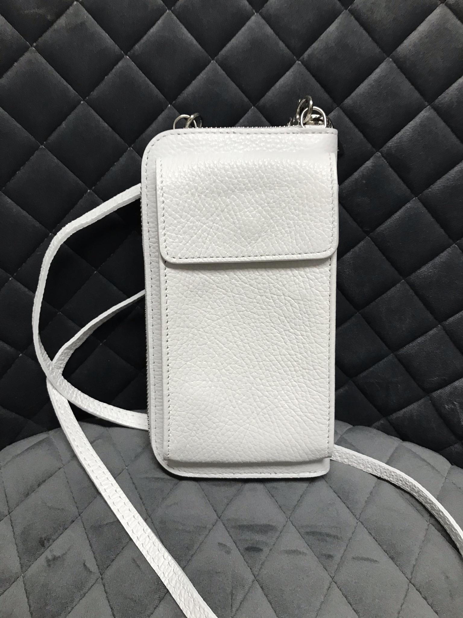 Handyportmonee aus weißem Leder