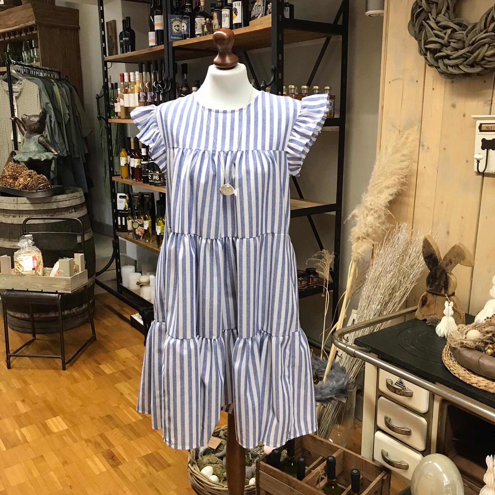 Kleid blau/weiß gestreift maritim mit Rüschenärmeln