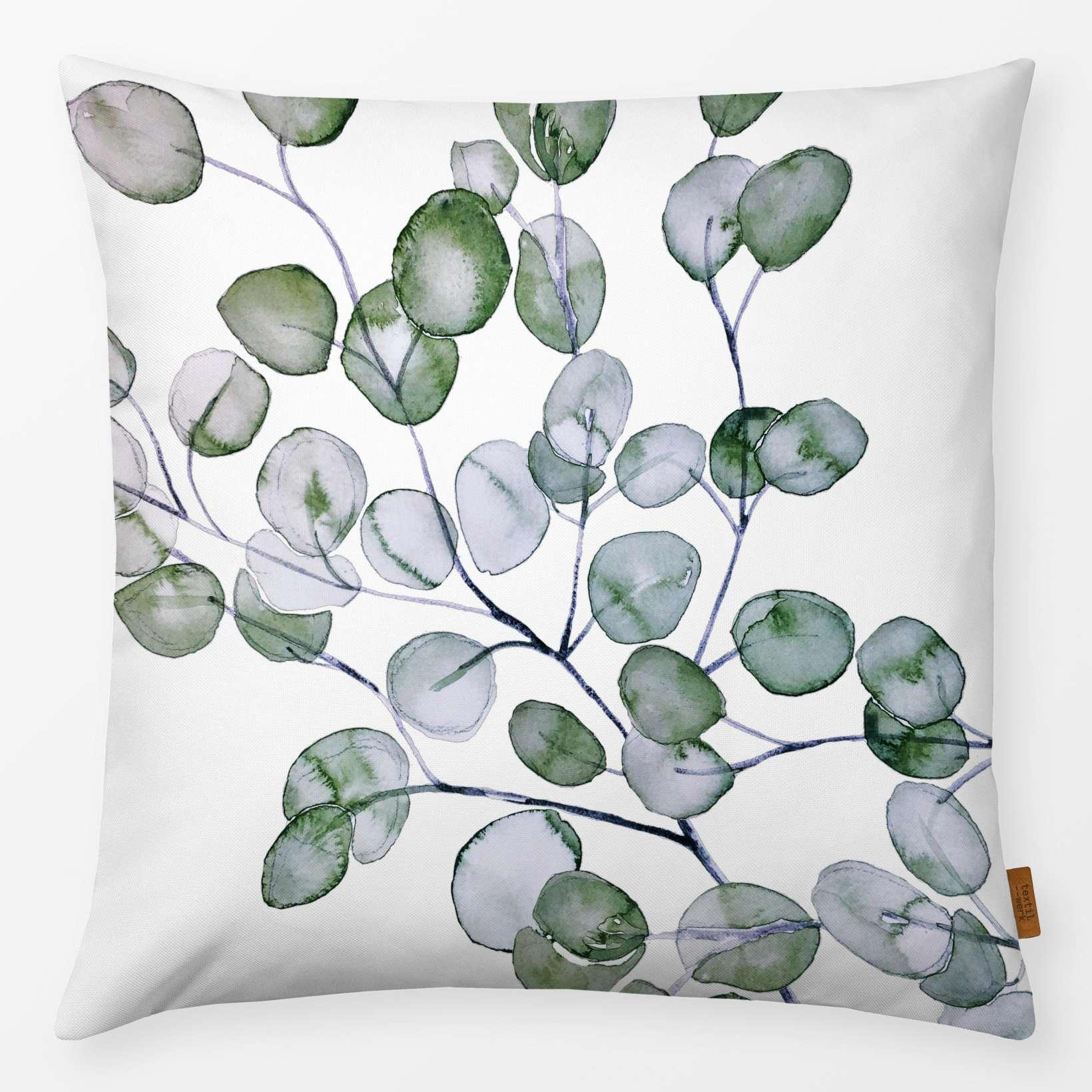 Kissen Eucalyptus Watercolor Silver Green 40x40cm