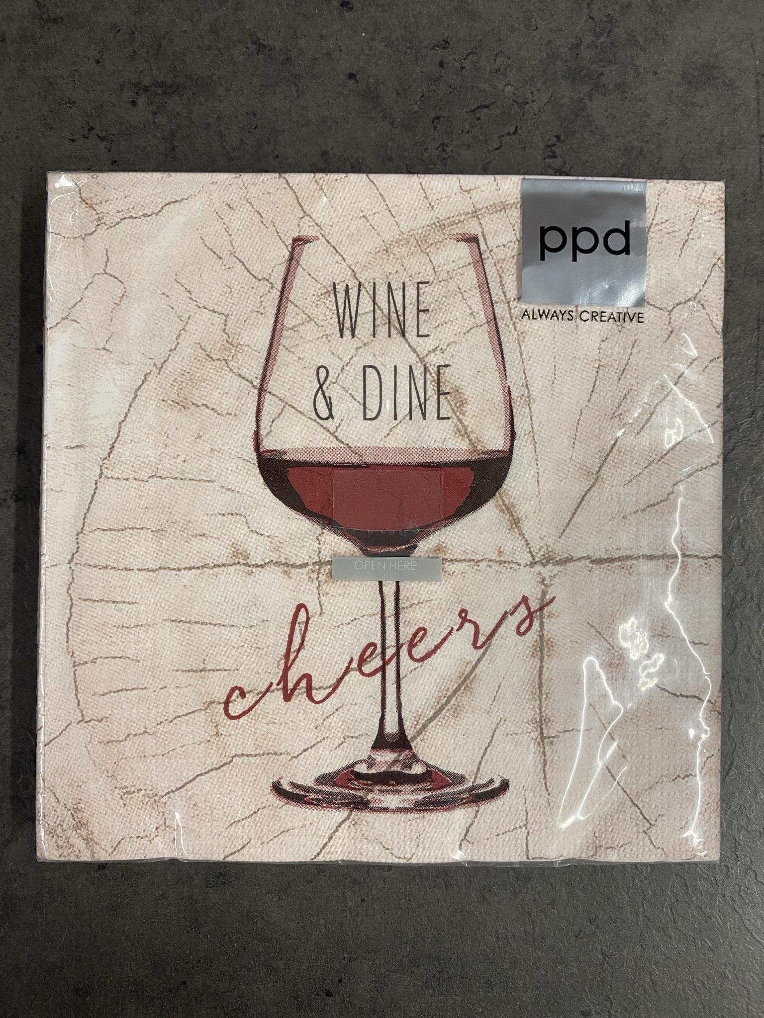Servietten 33x33cm Wine & Dine