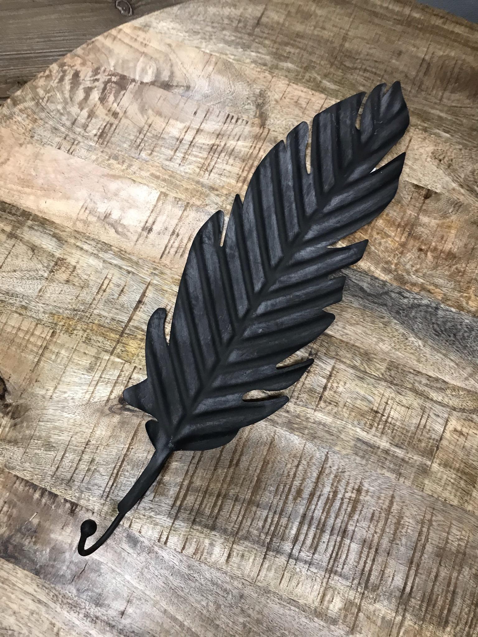 Metallhaken Blatt schwarz