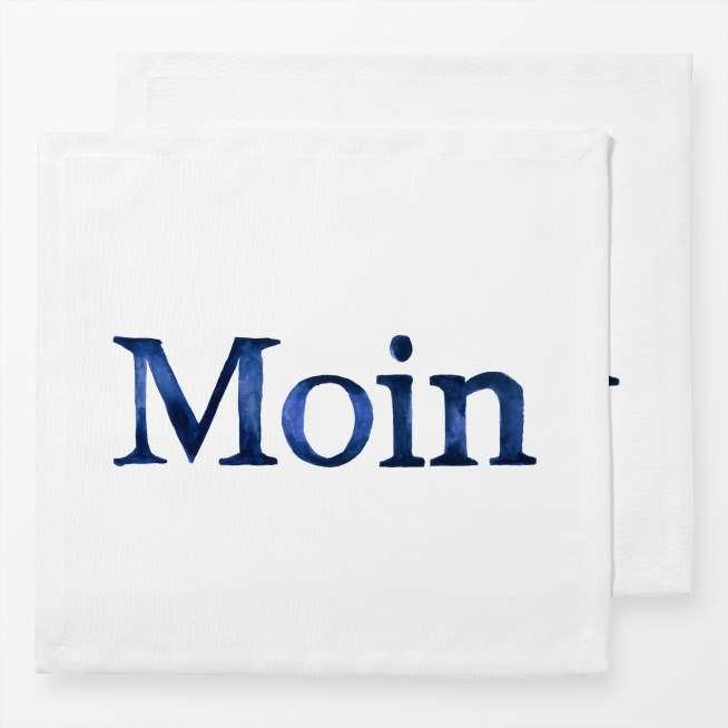 Baumwoll-Servietten Moin blau, 2er Set, 40x40cm