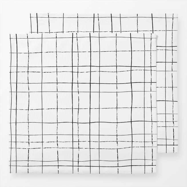 Leinen-Servietten Lines, 2er Set, 40x40cm