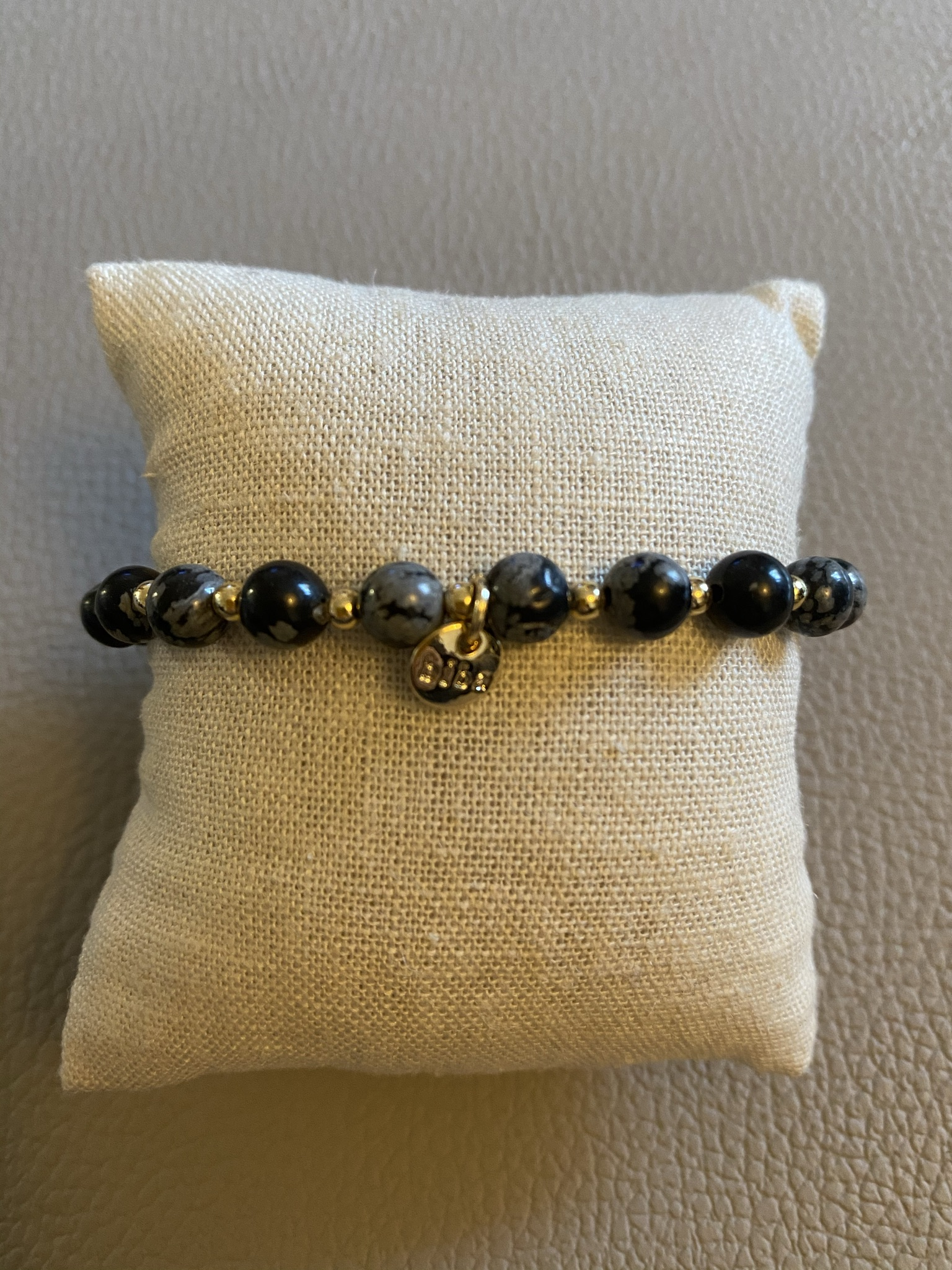 Biba Armband schwarz weiß marmoriert gold
