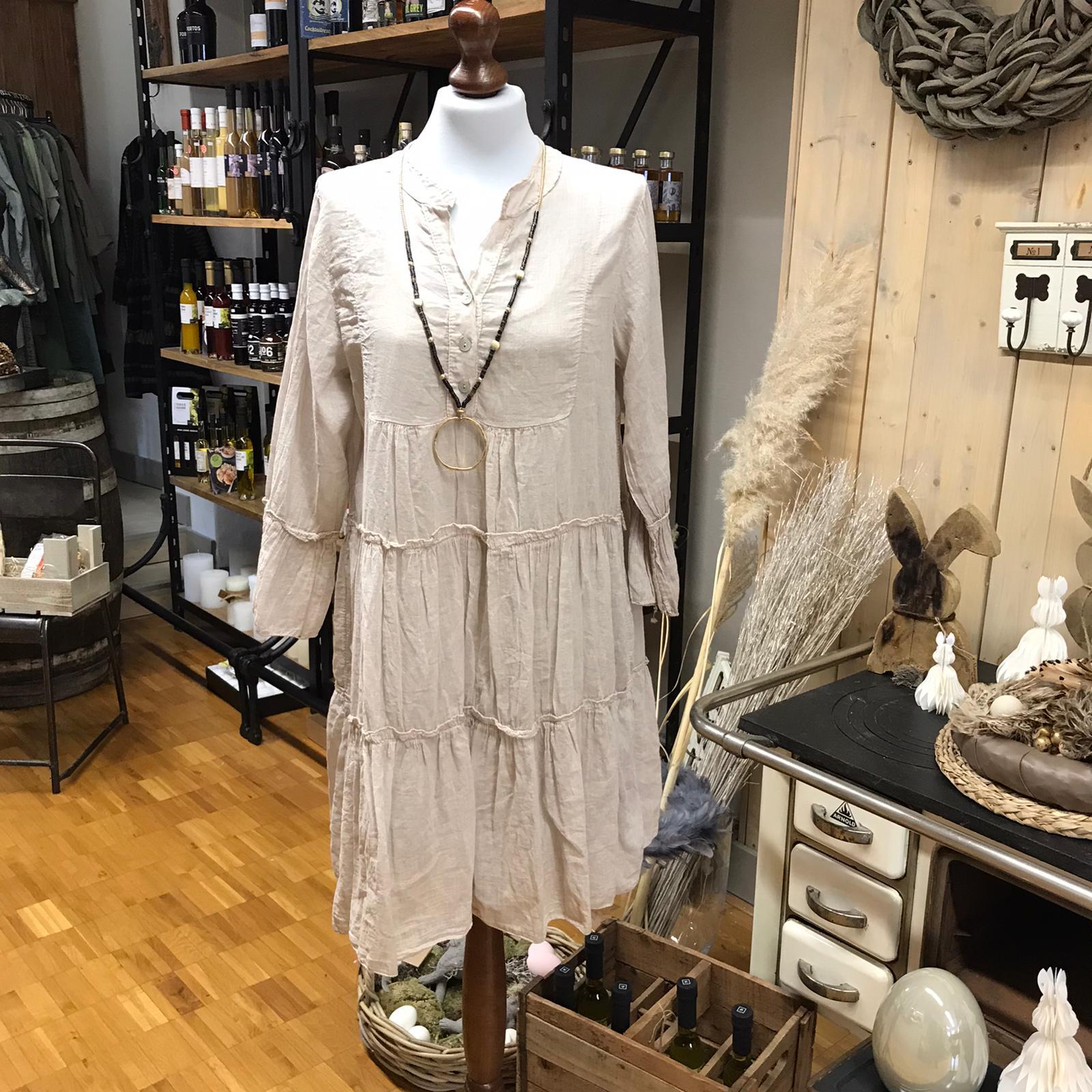 Kleid cremé Leinenoptik