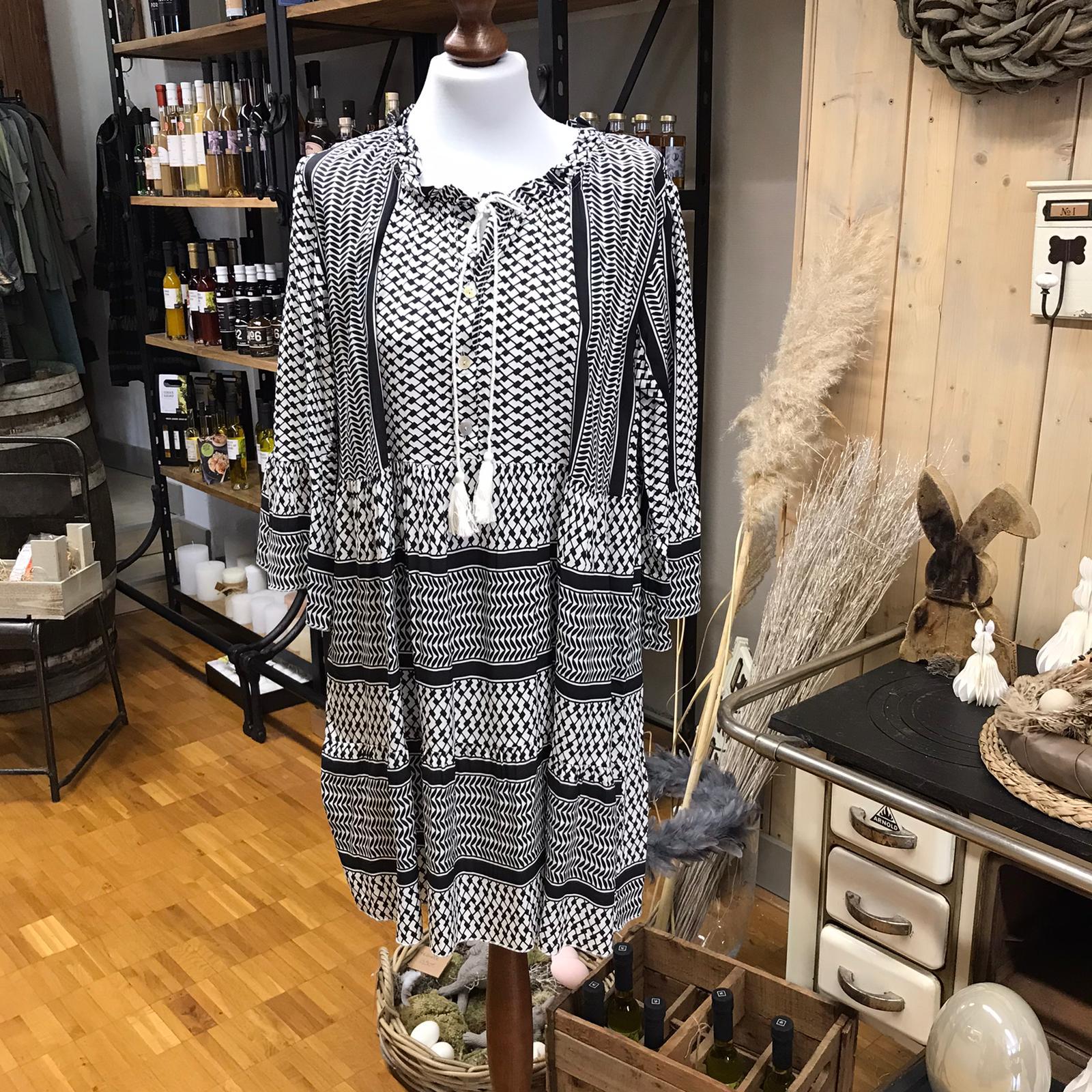 Kleid Viskose weiß/schwarz mit Quasten