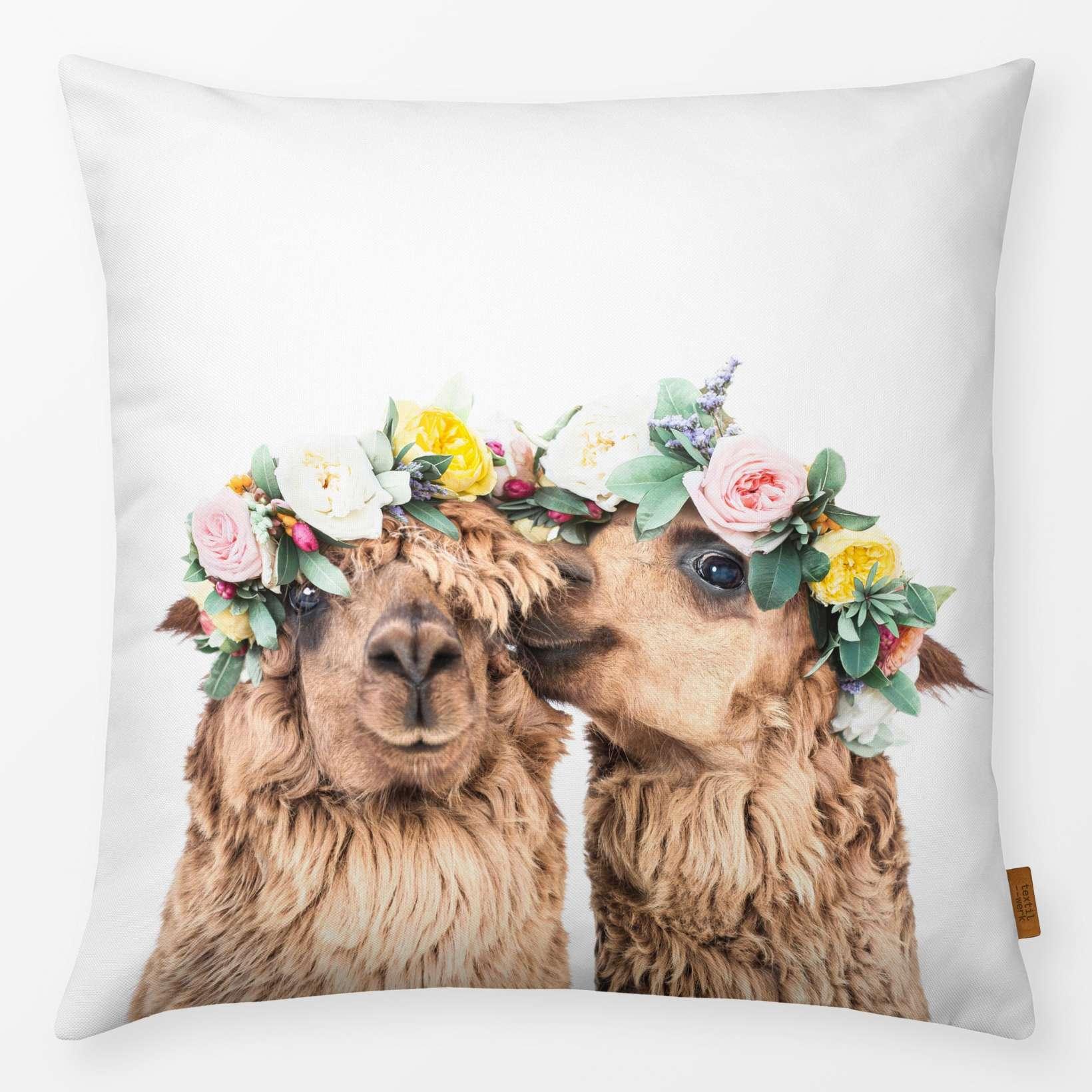 Kissen Alpacas with Corollas 40x40cm